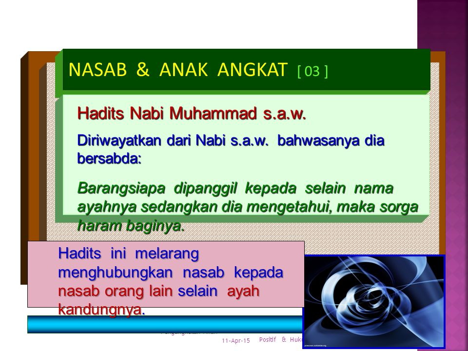 NASAB & ANAK ANGKAT [ 03 ] Hadits Nabi Muhammad s.a.w.